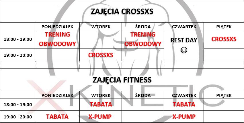 Grafik zajęć Fitness i Crossxs