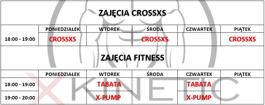 Grafik zajęć w X-Kinetic fitness i crossfit