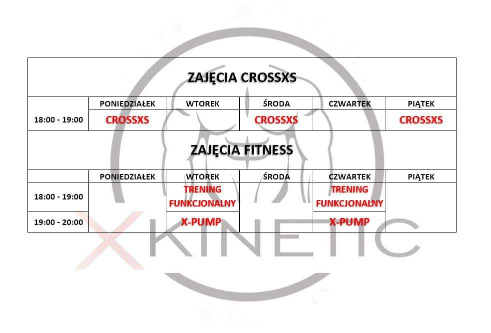 Grafik zajęć w X-Kinetic fitness i crossfit