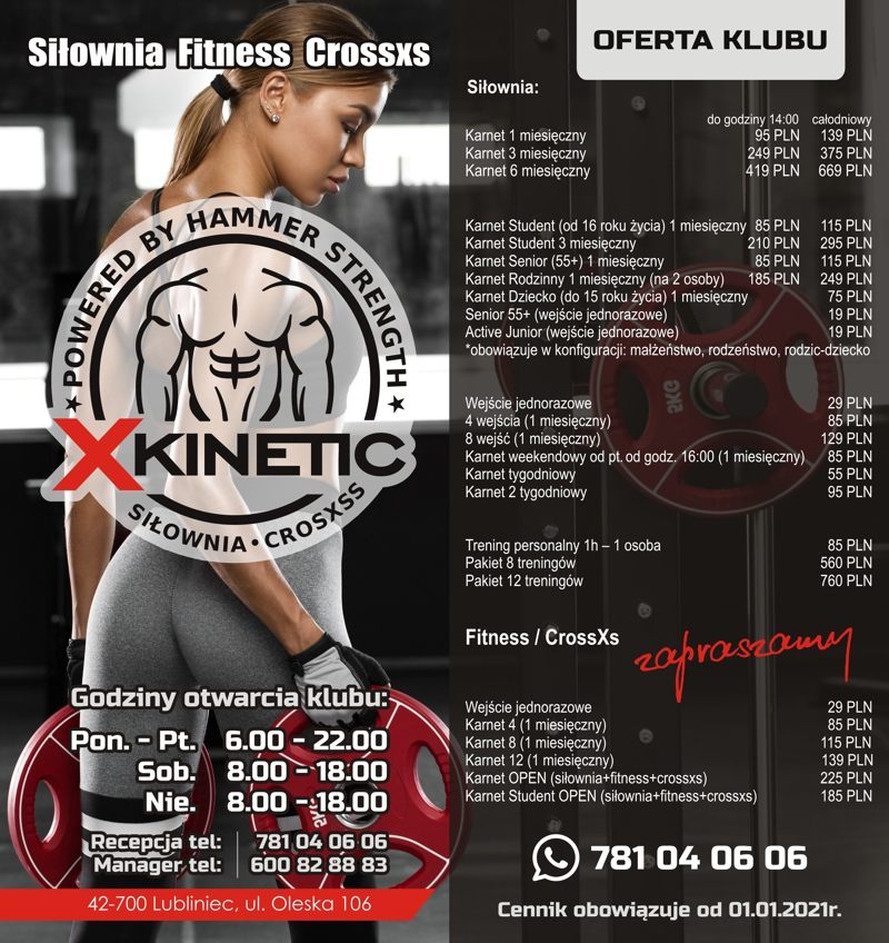 Cennik siłowni fitness i crossfit lubliniec Xkinetic